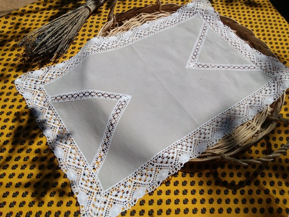 Large 1930's French Gray Cotton Doily Table Canter with Lace Inlays White Cotton Lace Trim Sewing Assemblage #sophieladydeparis