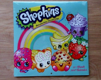 Shopkins Once you shop...You can't stop! 2018 Calendar 12 Months~ Apple Blossom~Strawberry Kiss~Kooky Cookie