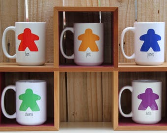 Gift for Board Game Geek - Personalized Meeple Mug - Choose Your Favorite Color - Coffee Gifts for Nerds - Settlers of Catan - Carcassonne