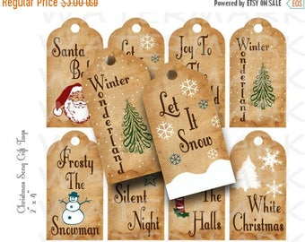 SALE- Christmas Song Gift Tags - Printable - INSTANT DOWNLOAD