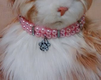Cat/Small Dog Pink Pearl Collar Style Necklace, Many Color Choices, Dog Pearl Collar, Cat Pearl Collar, Cat Collar Bling, Pet Valentine Gift