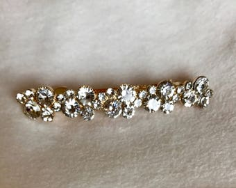 Clear Crystal Circles Gold Plated Barrette-pageant hair clip-prom barrette-bridal hair accessory