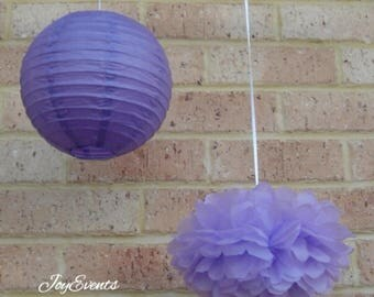 Lilac tissue paper Pom Poms & Purple Paper Lanterns for Wedding Engagement Anniversary Birthday Tea Party Bridal Shower  venue decoration