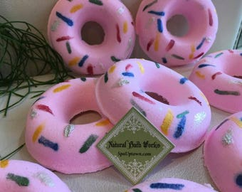 Set of 2: Strawberry Cream Doughnut Bath Bomb, Fizzy, Safe For Kids, SLS FREE, Natural, Vegan, Handmade by SPA Uptown