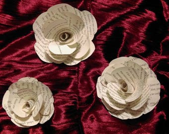 Stemless Paper Roses - Book Pages (Multi-Size and Book Options)