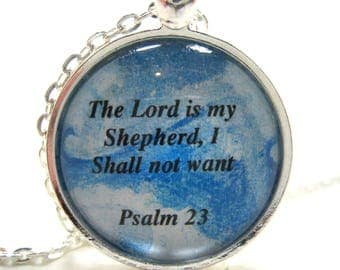Bible Verse Necklace - Scripture Necklace - The Lord is My Shepherd Psalm 23 - Christian Necklace - Religious Necklace - Gift Box Included
