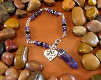 Amethyst Blessed Be Crystal Talisman Bracelet - Amethyst Crystal, Blessed Be, Wicca, Wiccan Jewelry, Wiccan Bracelet, Pagan Jewelry
