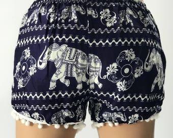 PP00 Pom pom Shorts Elephant Print Beach Summer Hippies Boho Fashion Chic Clothing Bohemian Boxers Short Pants Unique