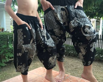 HCKD79 Dad and Me Black and White  pants Handmade pants, Thick Smock Waist Low Crotch - elastic waistband