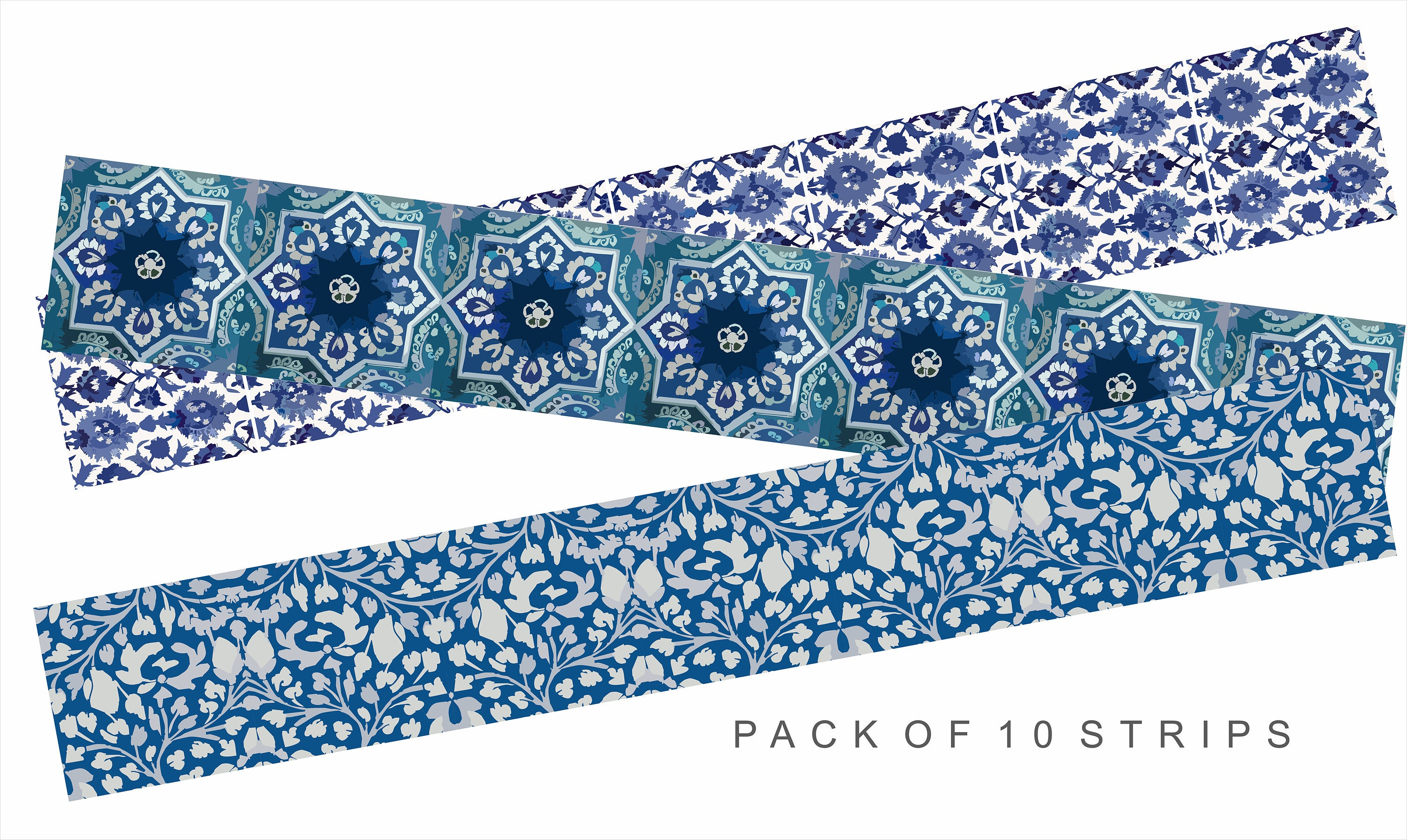 Blue Pottery Stair Decal : 10 Strips With 124cm Length