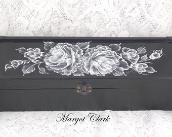 Long Black Box with Raised White Floral Design