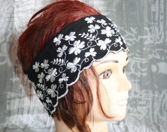 was embroidered elastic lace headband