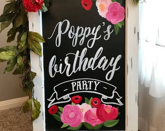 Birthday Chalkboard Easel with Flowers • Birthday Chalkboard Sign • Birthday Party Sign • Business Chalkboard Sign • Bridal Shower Sign