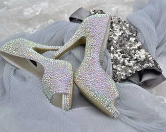 Swarovski Crystal Glitter AB Bridal High Heel Stiletto Corset Luxury Peeptoe Platform White Leather Pump