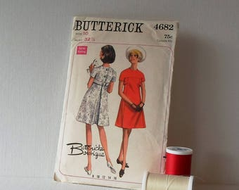 Vintage Butterick Pattern 4682 Size 10 Womens A-Line Dress 60s