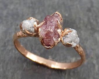 Raw Sapphire Diamond Gold Engagement Ring Multi stone Wedding Ring Custom One Of a Kind Pink Gemstone Ring Three stone Ring 0534