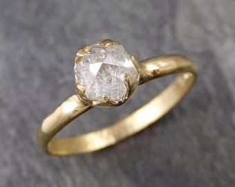 Fancy cut white Diamond Solitaire Engagement 18k yellow Gold Wedding Ring byAngeline 1055