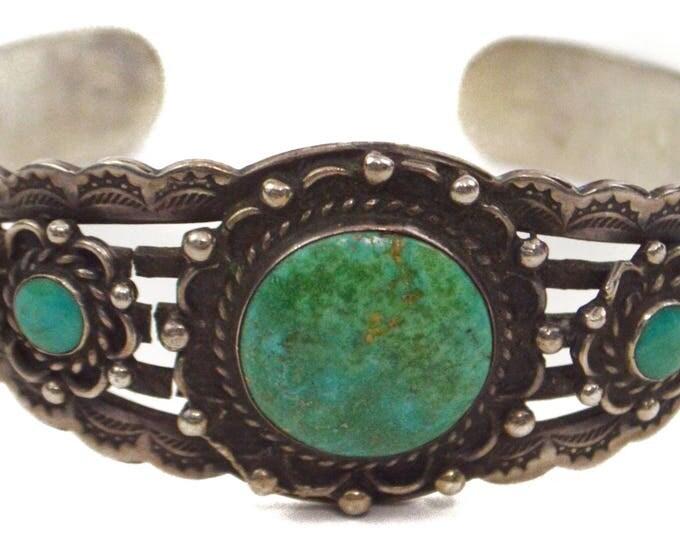 Vintage 50s Native American Navajo Turquoise Sterling Silver Bracelet