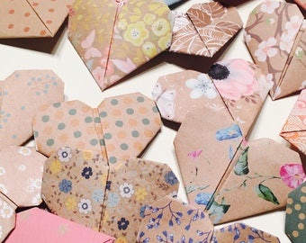 20 origami hearts paper table decorations wedding