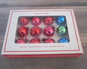 Box of Vintage Sears Glass Feather Tree Ornaments Vintage Miniature Color Glass Ornaments