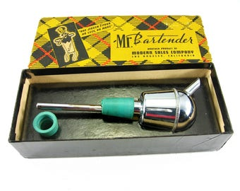 Mr Bartender Pour Spout Bottle Stopper In Original Box Pours One Jigger Mid Century Barware Retro Bar Accessory Vintage Barware Bar Gift