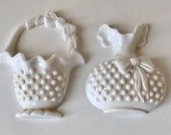 Vintage Burwood Hobnail Faux Milk Glass 2pc Set Small Vase and Basket