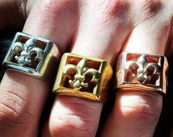 Sterling Silver Handmade Fleur De Lis Ring Fleur De Lys Ring Religious Ring Crusader Ring Biker Ring Badass Ring Outlaw Ring Crusader Ring