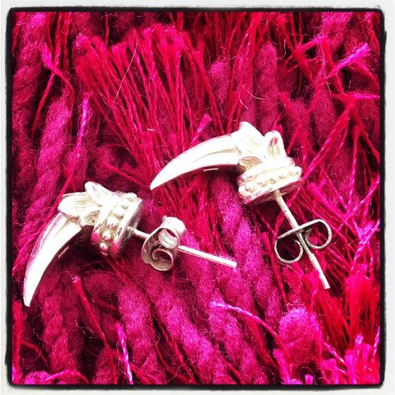 Etherial Jewelry - Rock Chic Talisman Luxury Biker Custom Handmade Artisan Pure Sterling Silver .925 Tusk Stud Bespoke Designer Earrings