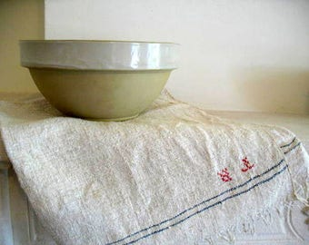 Perfect, antique French rustic Digoin Crespots stoneware bowl, ivory and cream - 75 euro