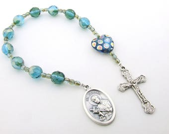 Catholic Rosary Beads - Saint Gerard One Decade Rosary - Seafoam Green Czech Glass Pocket Rosary Beads Tenner - Catholic Gift
