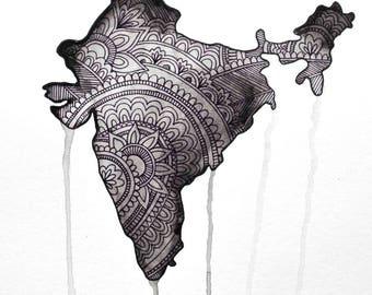 India Watercolor Mehndi Map Print Download