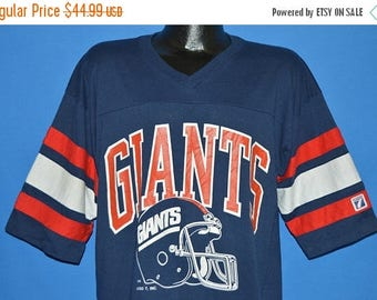ON SALE 80s New York Giants Striped Jersey t-shirt Extra Large