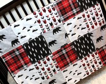 1 Pc Lumberjack Bear Mountains Baby Toddler Crib Quilt, Red Black Grey Plaid Crib Bedding, Boy Bedding, Woodland Bed Set, Bear Theme Nursery