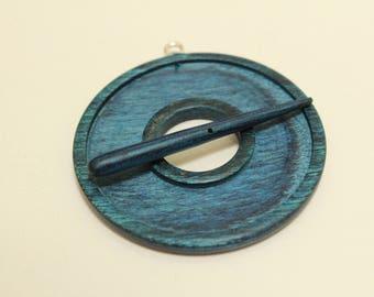 Indigo Blue Toggle, dyed & laminated wood, hand carved