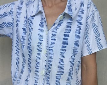 90s Cropped Button Up Blue Bones