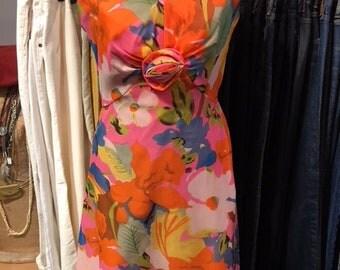 1070's Orange Floral Dress