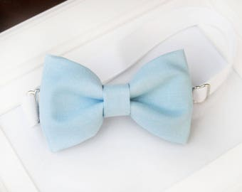 Light blue bow-tie for baby toddler teens adult - Adjustable neck-strap - Ring Bearer Outfit