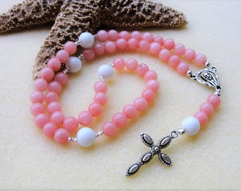 Catholic Rosary,Rosary Beads,Natural Pink Stones,Baptism Gift, Communion Gift,Confirmation Gift,Prayer Beads,Catholic Gift,Rosary Necklace