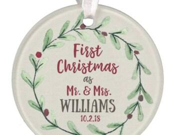 Wedding Ornament, Christmas Ornament, Personalized Wedding Ornament, Ceramic Ornament, Wedding Gift, Mr. & Mrs. Ornament, RyElle, Christmas