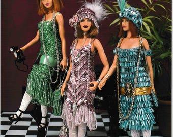 DIGITAL DOWNLOAD  Vintage 1920's Gatsby Girls  Barbie Fashion Doll Crochet Pattern Booklet