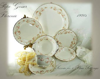 Vintage 1920s Pope Gosser (Scalloped Edge) Dinnerware Set, in Florence Pattern 3025, Service for 4 Place Settings