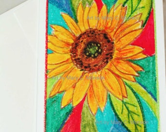 Sunflower WATERCOLOR greeting card - ORIGINAL - Hand painted - FREE Shipping!
