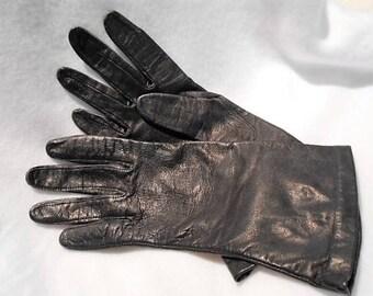 Vintage Black French Kidskin Gloves Lined in Blue Silk, Size 7 1/2, c. 1960