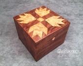 Bear Paws Quilt Block on a Walnut Keepsake Box