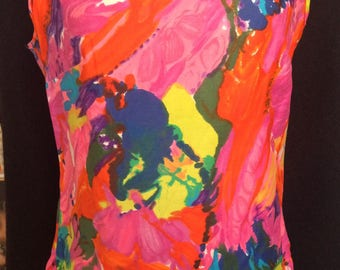 Abstract painty floral acid neons 60s trippy top