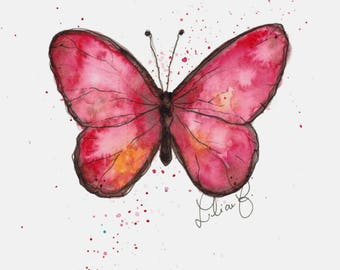 Pink Butterfly (original watercolor)