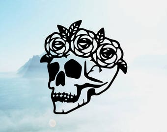 Flower Skull Vinyl Decal <More Colors Available> <One Decal> <Decal Only> <Ships 1-3 Business Days>