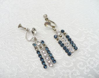Vintage Clear and BLUE Rhinestone Dangle Earringss - silver tone metal - Screw back style -montana blue stones - something blue - bridesmaid