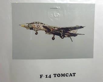 Cross Stitch Chart F-14 Tomcat Counted Cross Stitch Chart Military Aviation Fighter Plane Needlework Craft
