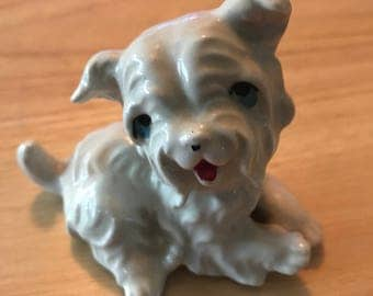Adorable Vintage white dog figurine. Hand painted.